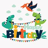 Lovely illustration with funny dinosaurs. Happy birthday cute card concept