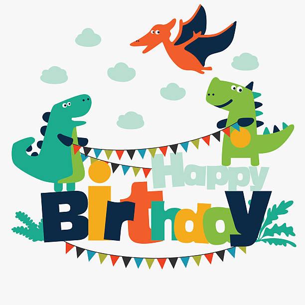 Schöne illustration mit lustige Dinosaurier. Happy birthday niedliche Karte Konzept – Vektorgrafik