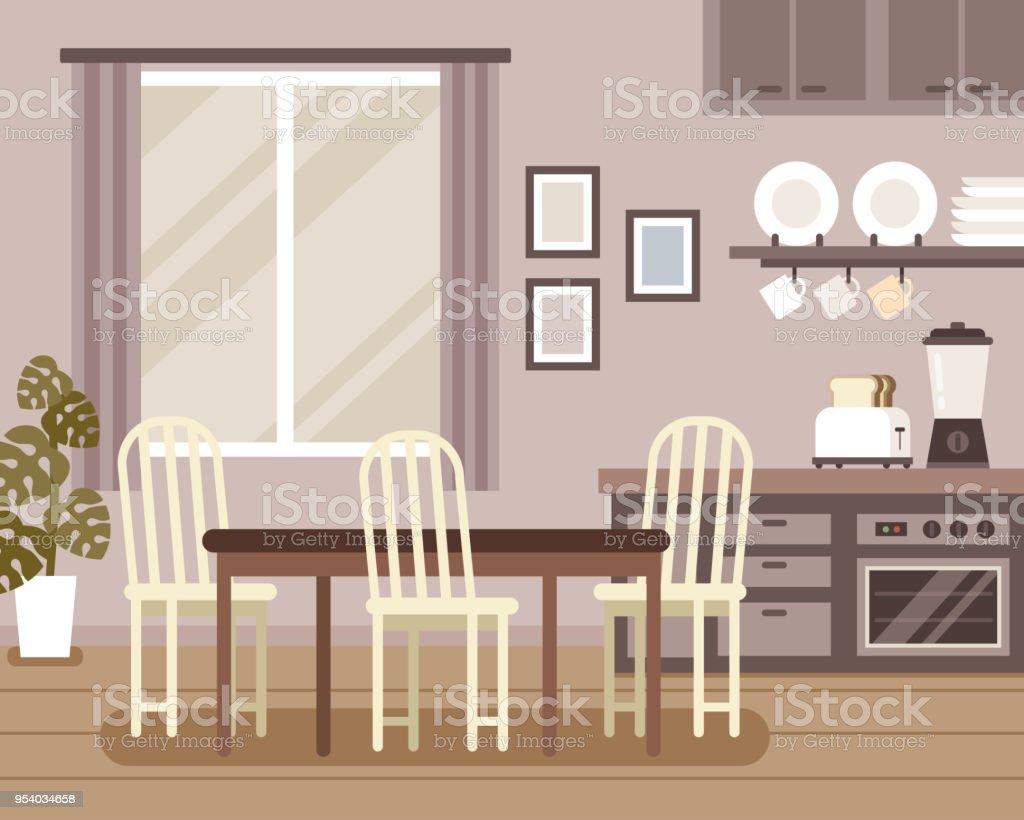 Lovely interior scene vector art illustration