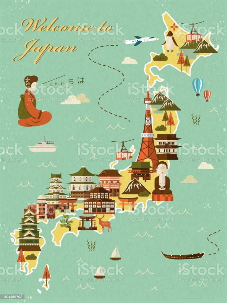 Lovely Japan Travel Map Stock Vector Art IStock - Japan map cartoon