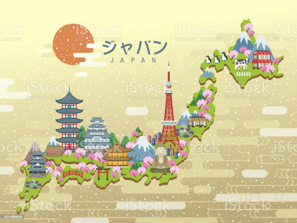 Lovely Japan Travel Map Stock Vector Art IStock - Japan map vector art