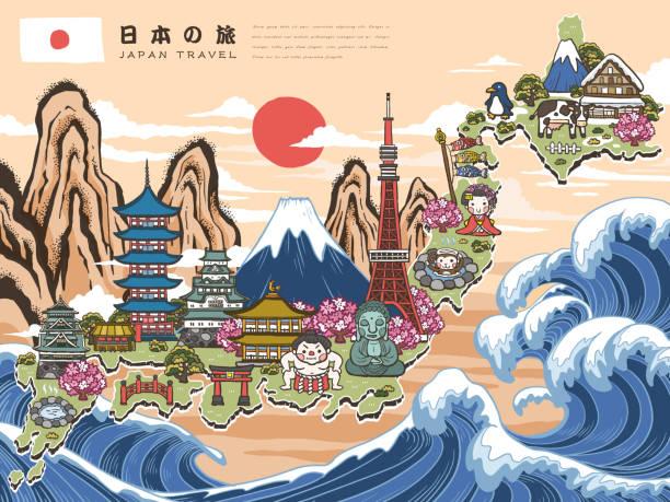 schöne japan-karte - sumo stock-grafiken, -clipart, -cartoons und -symbole