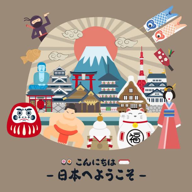 schöne japan reise poster - sumo stock-grafiken, -clipart, -cartoons und -symbole