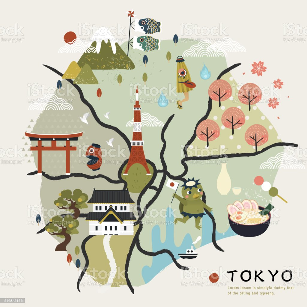 lovely Japan walking map vector art illustration