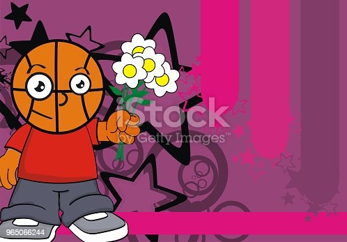 Lovely Kid Basketball Head Cartoon Background Stock Vector Art & More Images of Basketball - Sport 965066244