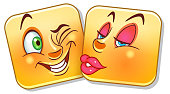Lovely Kiss Emoticon. Valentine's Day colorful smiley design.