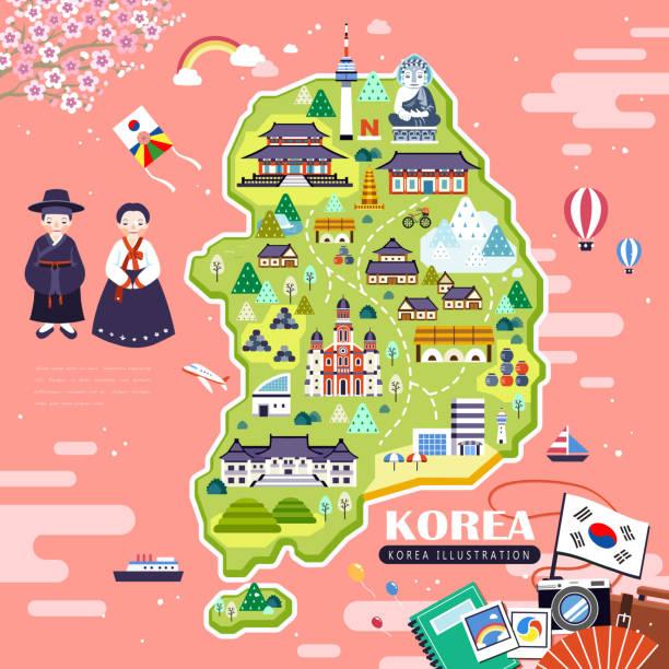 lovely Korea travel map - ilustración de arte vectorial