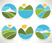 lovely landscape and nature symbols and icons