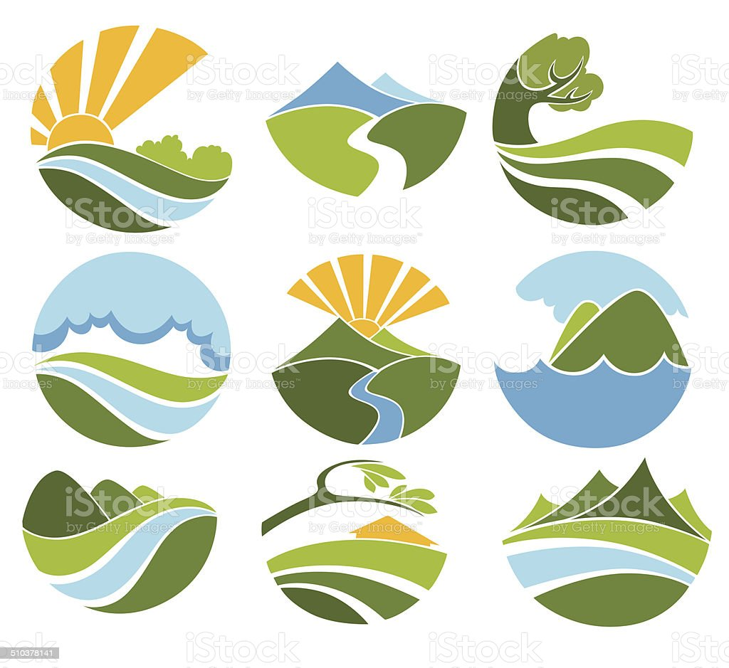 lovely landscape vector art illustration
