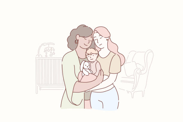 illustrazioni stock, clip art, cartoni animati e icone di tendenza di lovely lesbian family. two adult women and small baby standing together in the children s room at home. wife and wife together holding infant. gay parents with child. homosexual couple with baby - coppia gay