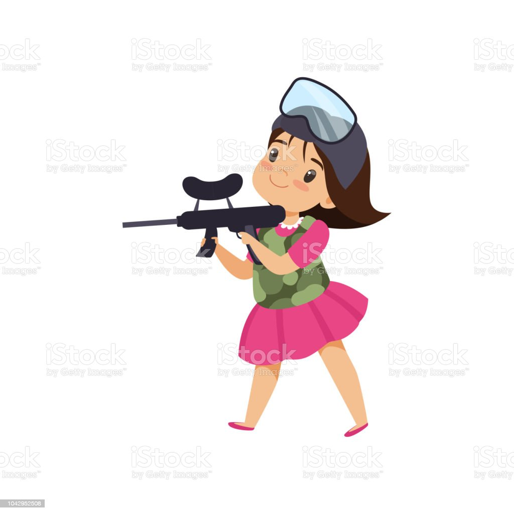 Lovely little girl playing paintball with gun vector Illustration on a white background royalty-free