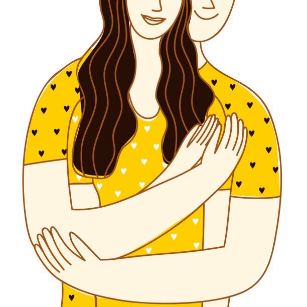 lovely man and woman hugging each other. - отвести взгляд stock illustrations