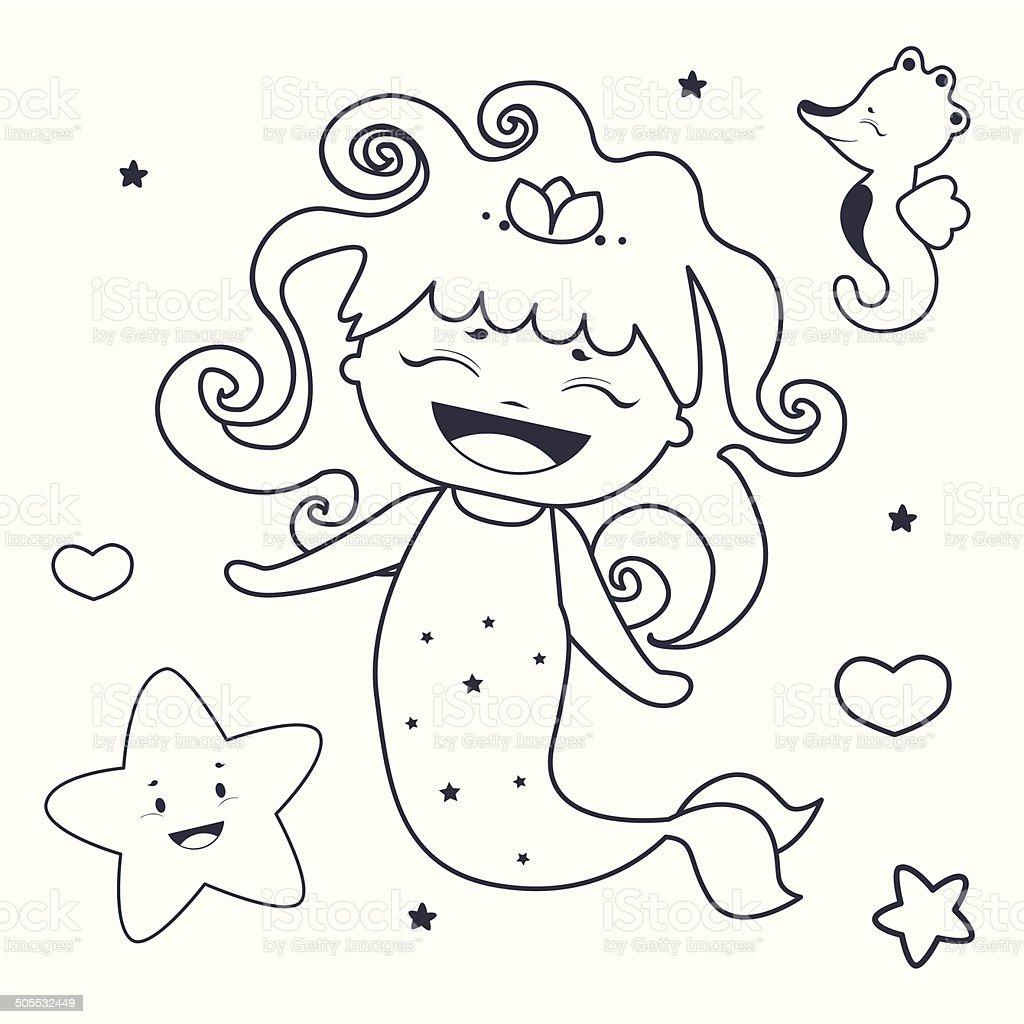 Ilustración de Adorable Sirena Y Amigos Libro Para Colorear y más ...