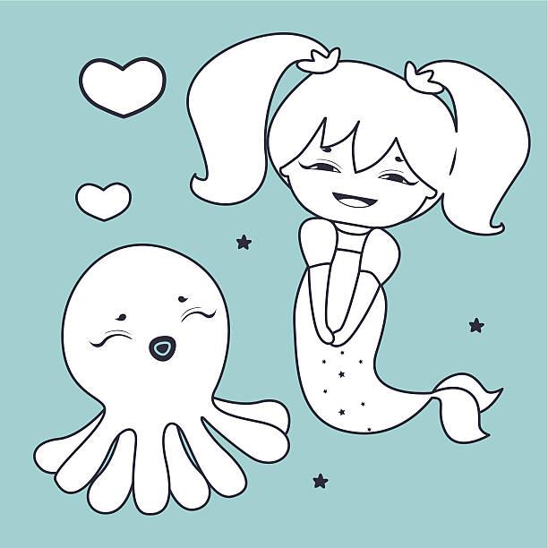 Mermaid Manga Style Sea Cartoon Vektorgrafiken und Illustrationen ...