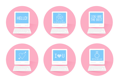 Lovely messages on futuristic retro computer screens. Online dating romance concept, virtual love, long distance relationships. Trendy vector illustration for print, stickers, web design.
