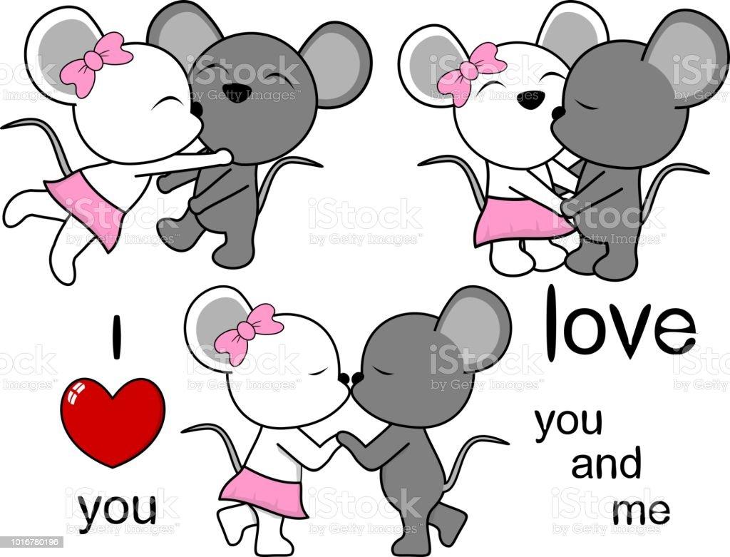 Ilustración De Pareja De Ratón Adorable Beso Dibujos Animados Amor