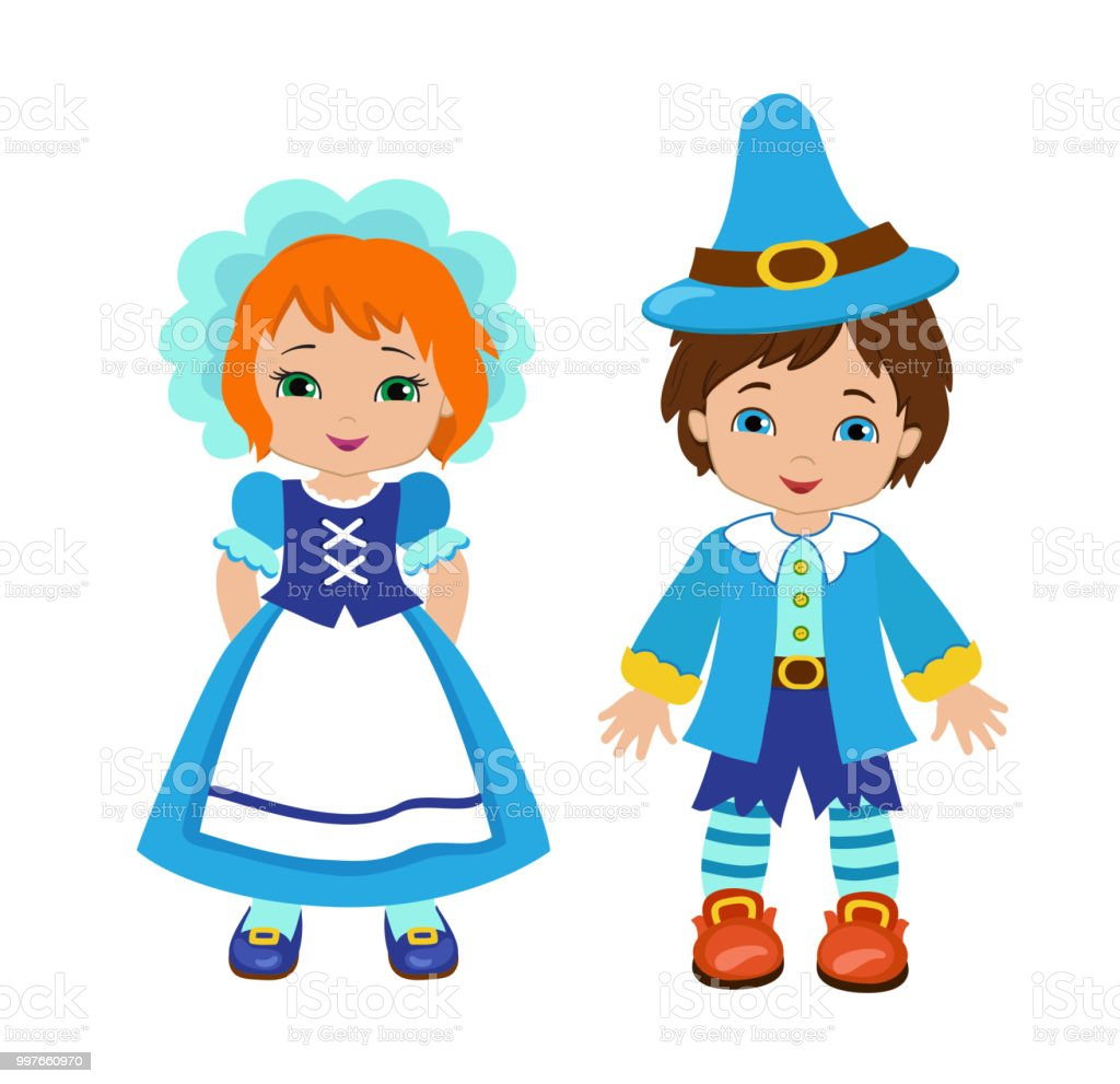 Lovely munchkins boy and girl characters from a fairy tale wizard of oz royalty