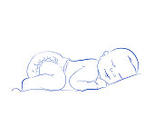Lovely Newborn Sleeping Vector. Cute Little Sleeping Child. Contour Sketch, Hand Drawn. Cute Baby.