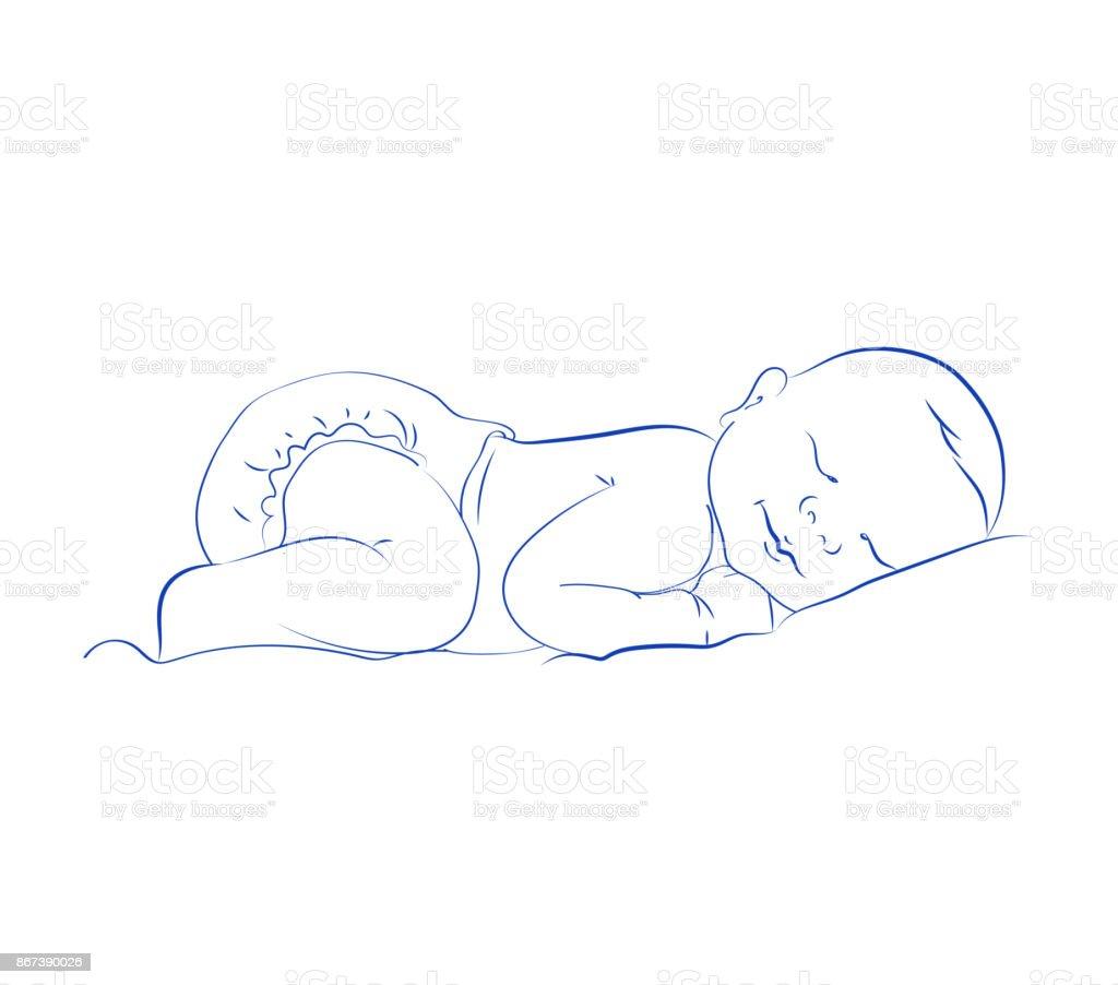 Lovely Newborn Sleeping Vector. Cute Little Sleeping Child. Contour Sketch, Hand Drawn. vector art illustration