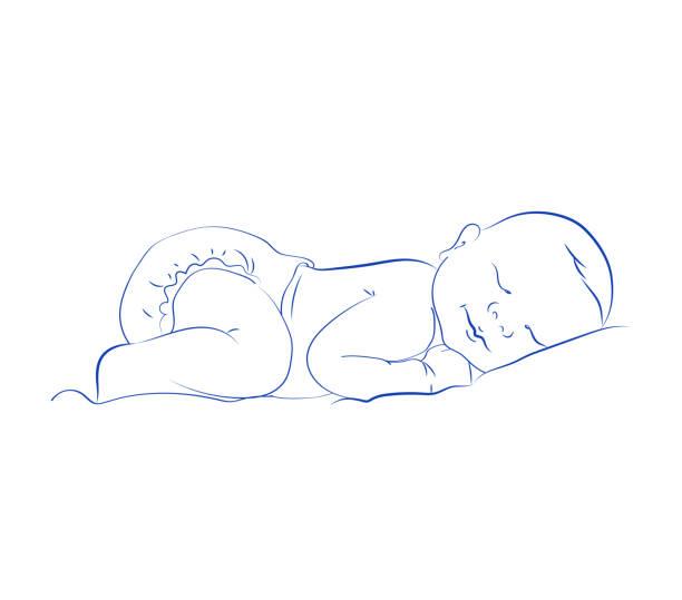 schöne neugeborene schlafen vektor. niedliche kleine schlafendes kind. skizze, handgezeichnete kontur. - neugeborenes stock-grafiken, -clipart, -cartoons und -symbole