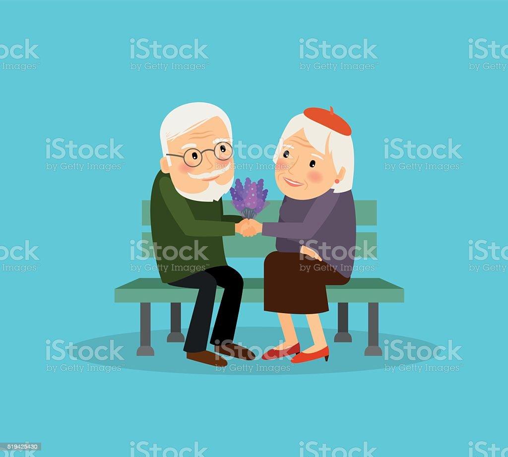 Lovely old couple vector art illustration