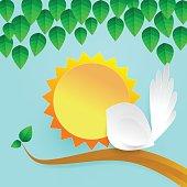 Lovely Paper Bird Illustration