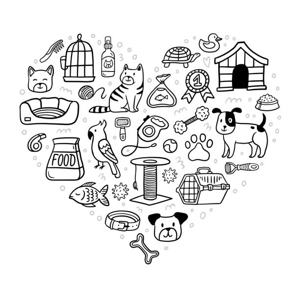 schöne haustiere sachen und liefern icons setzen design in herzform. tiersymbols-sammlung im doodle-stil. cartoon-hund, katze, papagei, schildkröte, fisch und viele pflegeelemente wie zwinger, leine, nahrung, pfote, schüssel. kann für postkarten, banne - leinensofa stock-grafiken, -clipart, -cartoons und -symbole