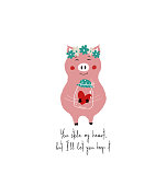 Lovely pink piggy holding jar with a red heart. Love greeting card with phrase: you stole my heart, but I let you keep it.
