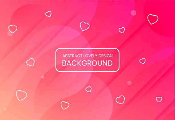 Lovely pink background with hearts and with multi-layered effect vector art illustration