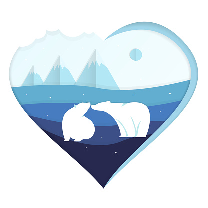 Lovely polar bears, couple in love for Valentine's Day in blue. Cute polar animals especially for a postcard or valentine. Vector illustration