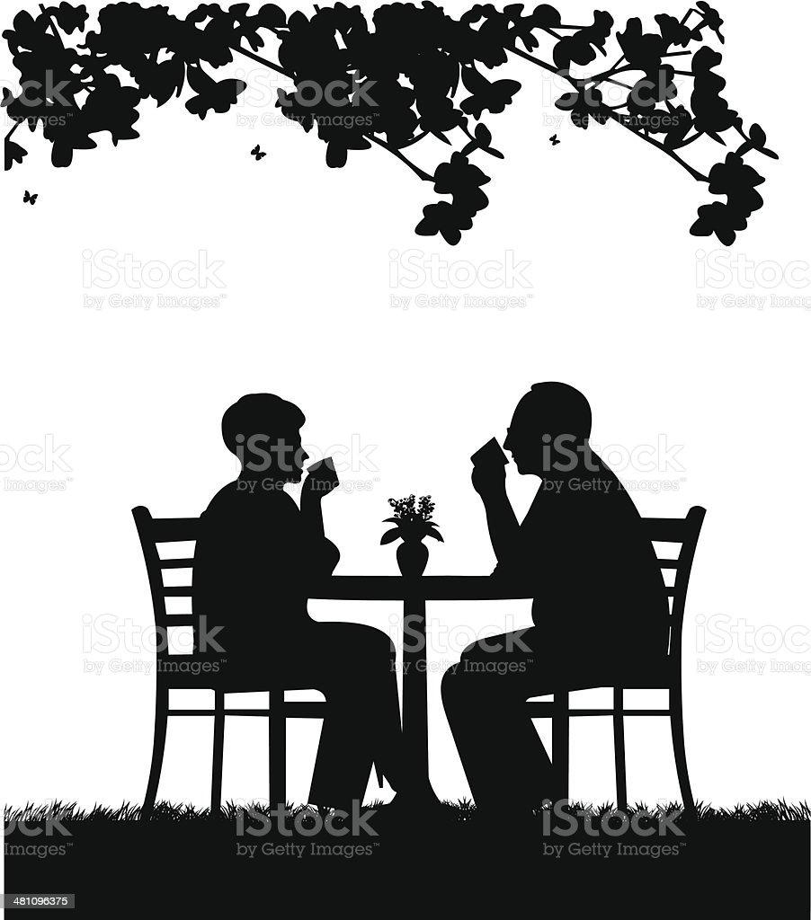 Lovely retired elderly couple drinking coffee in garden vector art illustration