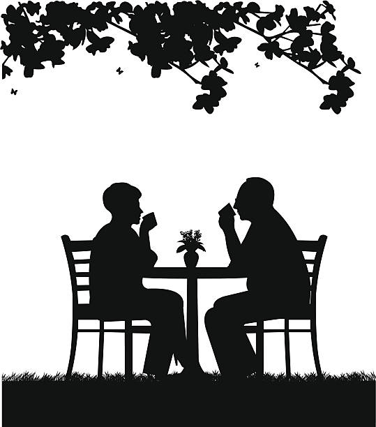 lovely retired elderly couple drinking coffee in garden - old man glasses silhouettes stock illustrations, clip art, cartoons, & icons