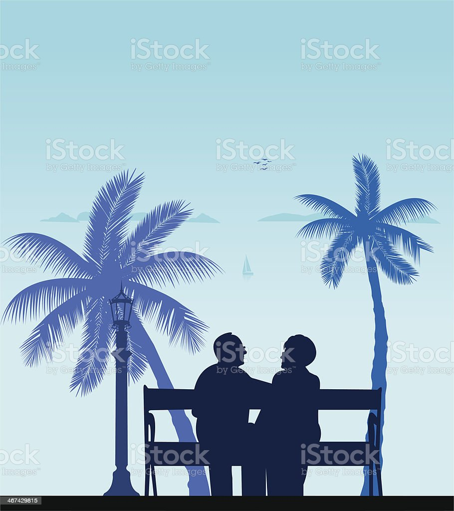 Lovely retired elderly couple on the beach vector art illustration
