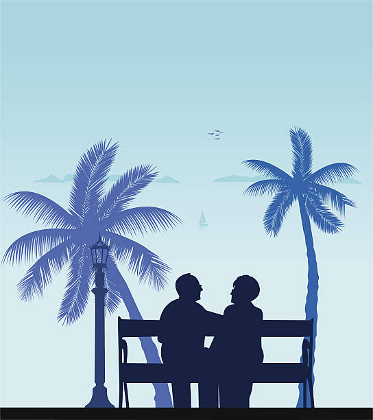 lovely retired elderly couple on the beach - old man sitting backgrounds stock illustrations, clip art, cartoons, & icons