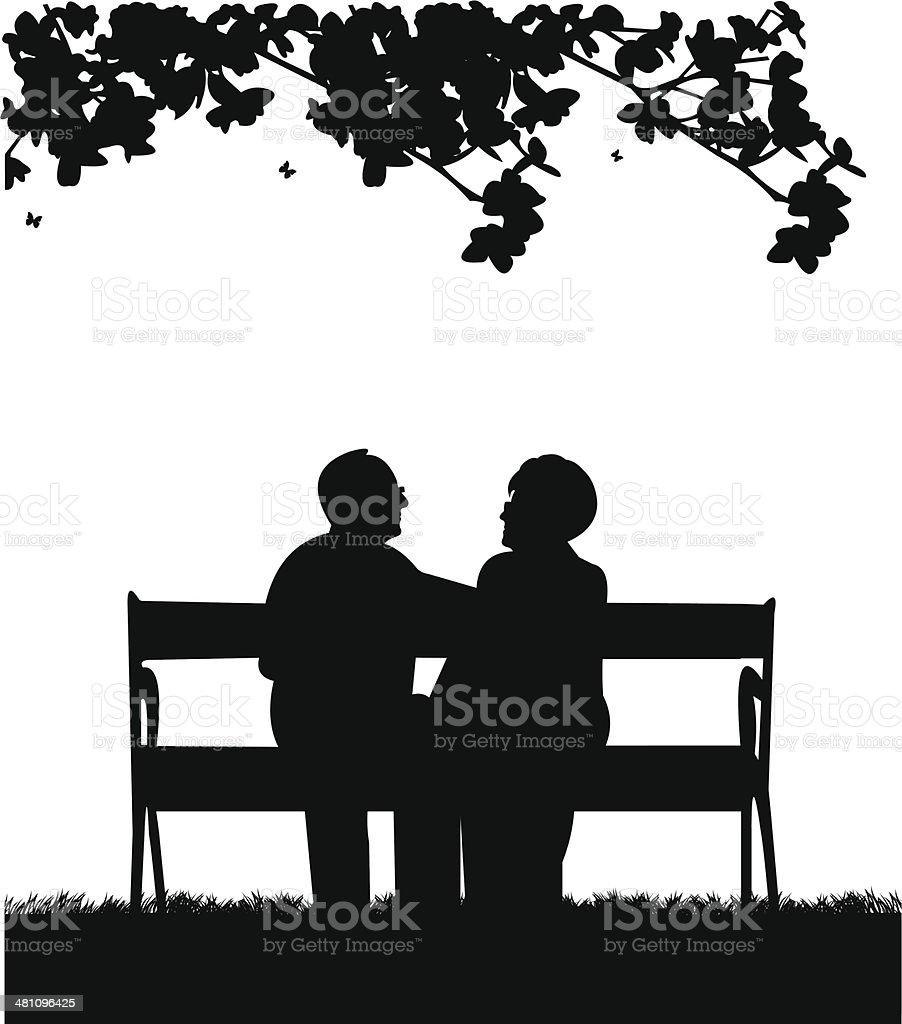 Lovely retired elderly couple sitting on bench in park vector art illustration