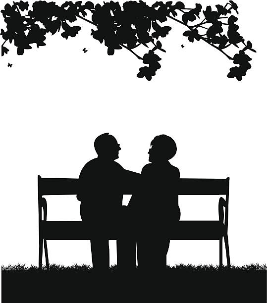 lovely retired elderly couple sitting on bench in park - old man glasses silhouettes stock illustrations, clip art, cartoons, & icons