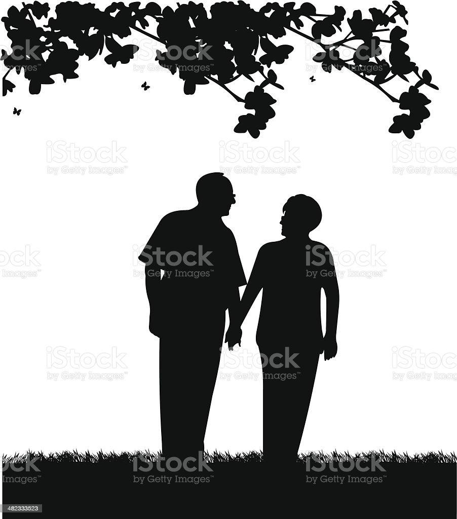 美しい元高齢者のカップルの公園の散歩 のイラスト素材 482333523 | istock