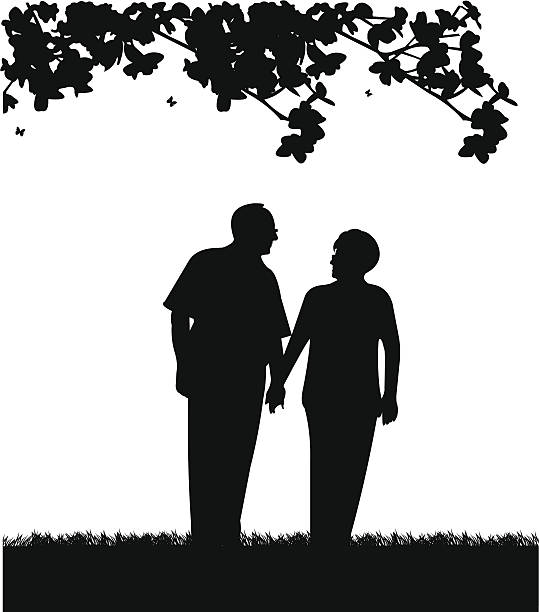lovely retired elderly couple walking in park - old man smiling silhouettes stock illustrations, clip art, cartoons, & icons