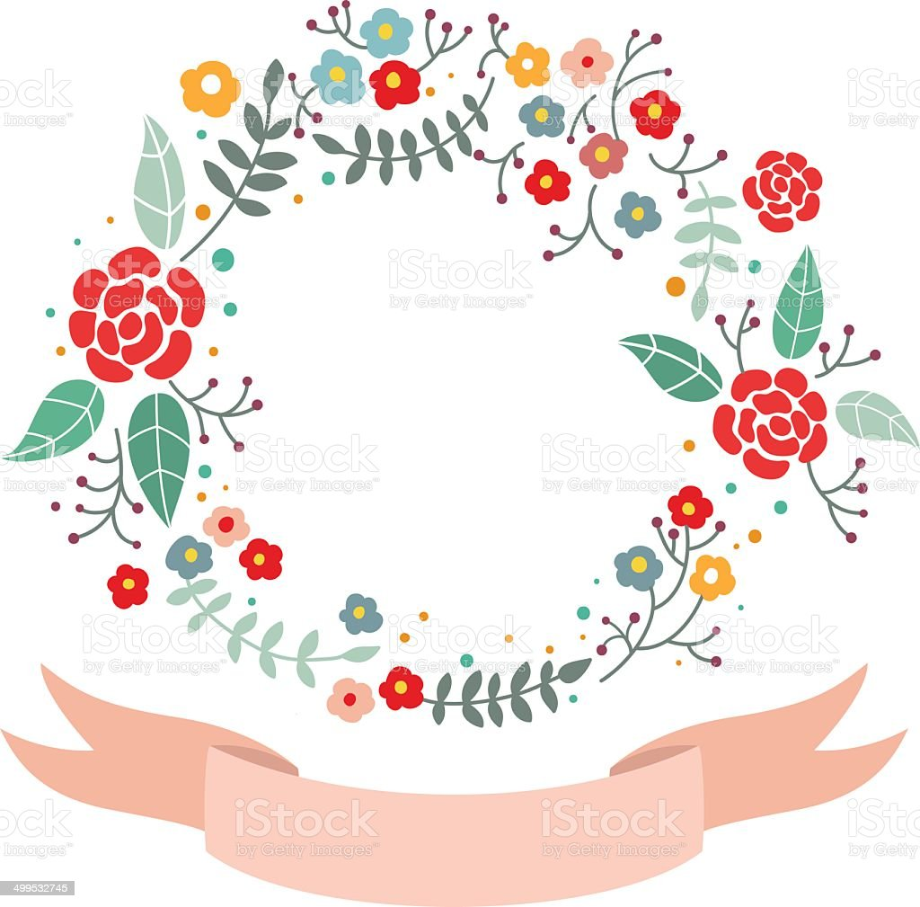 Lovely Round Vector Frame Wreath With Flowers And Ribbon Stock ...