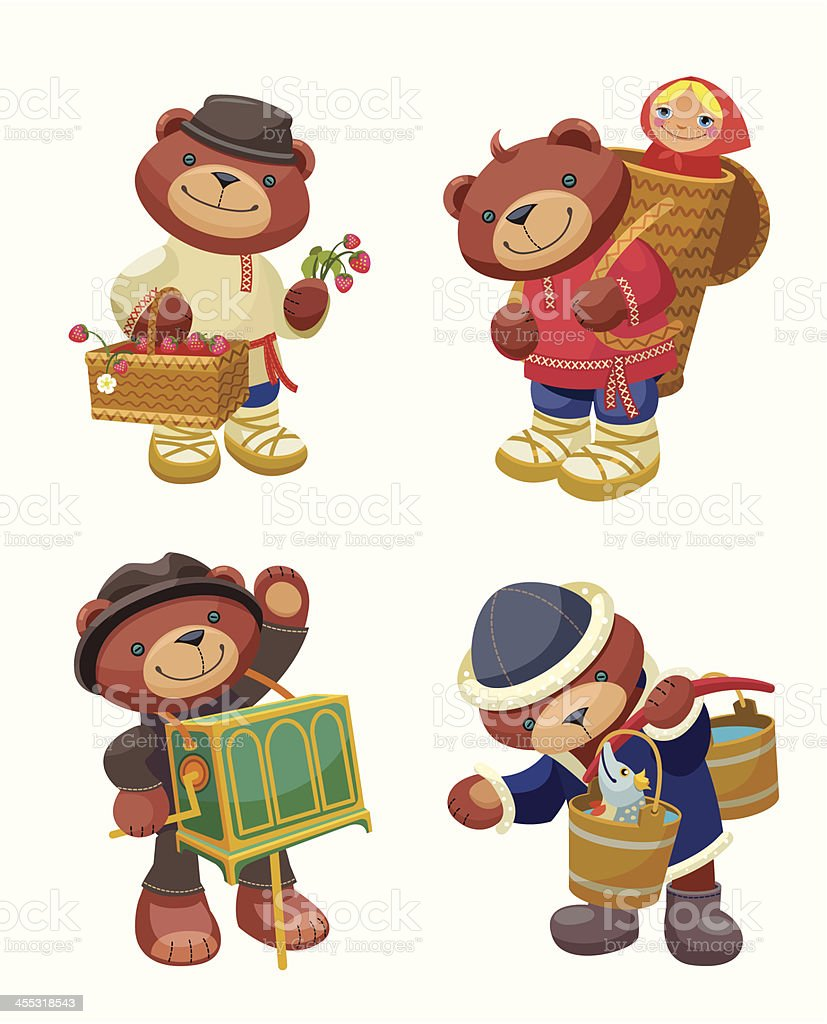 Lovely Russian Bear- set two royalty-free stock vector art