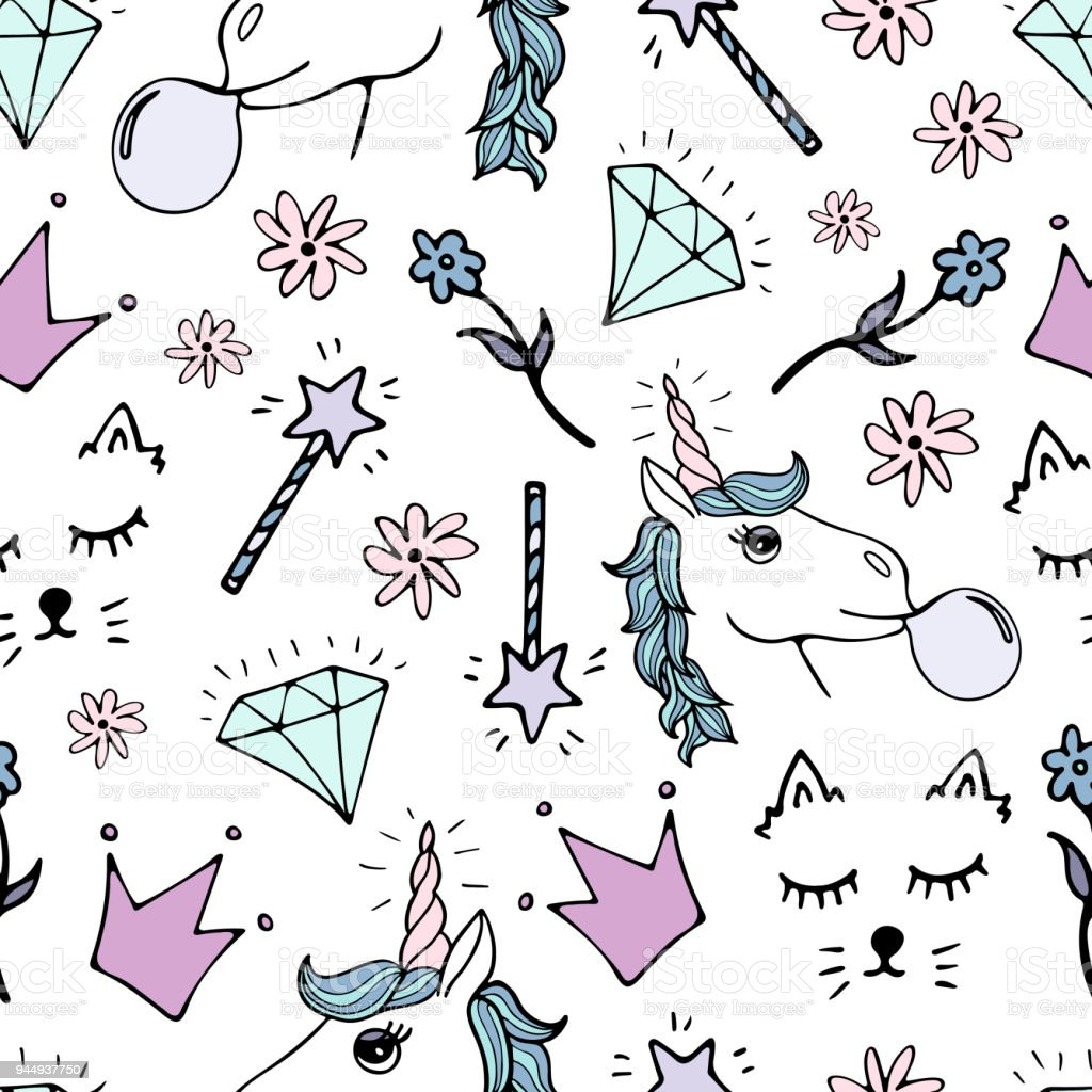 Ilustración de Encantador De Patrones Sin Fisuras Con Unicornios ...