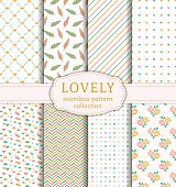Set of pretty patterns with hearts, flowers, feathers, crowns and abstract ornaments for wedding and romantic themes. Collection of seamless backgrounds in pastel colors. Vector illustration.