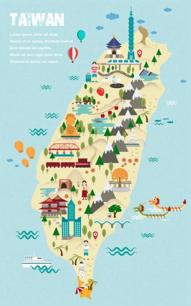 美しい台湾旅行マップ - 台湾点のイラスト素材/クリップアート素材/マンガ素材/アイコン素材