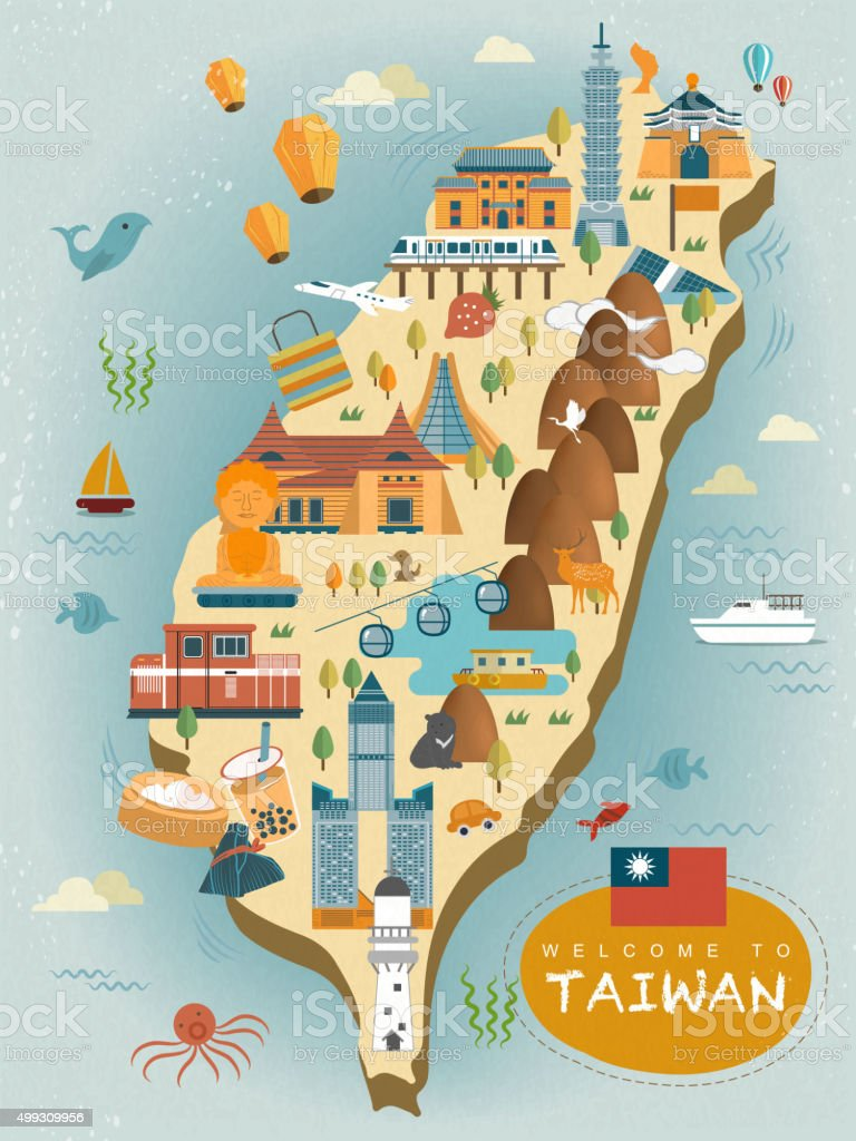 Lovely taiwan travel map stock vector art 499309956 istock lovely taiwan travel map royalty free stock vector art sciox Images