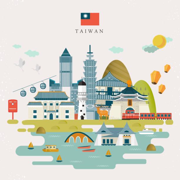 schöne taiwan-karte - insel taiwan stock-grafiken, -clipart, -cartoons und -symbole