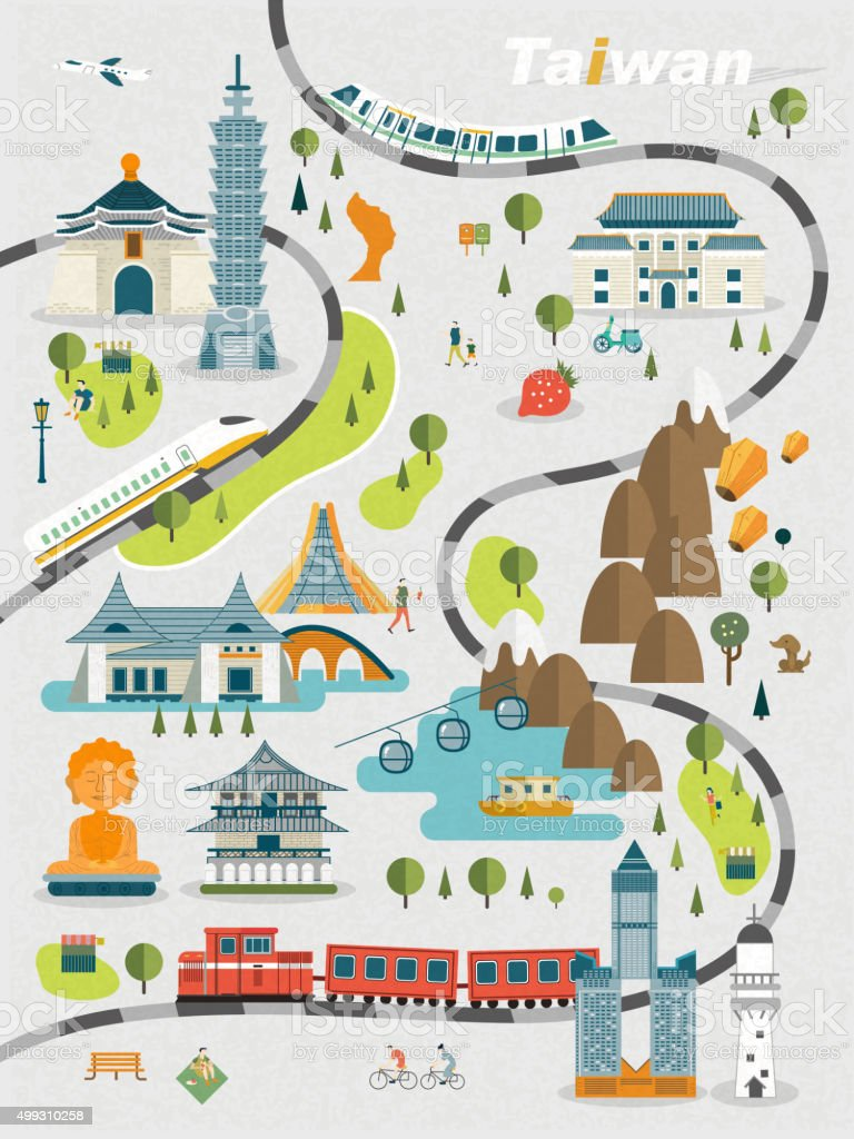 美しい台湾旅行マップ ベクターアートイラスト