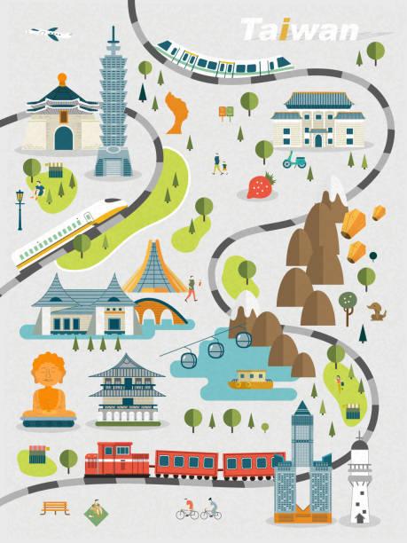lovely taiwan travel map - 台灣 幅插畫檔、美工圖案、卡通及圖標