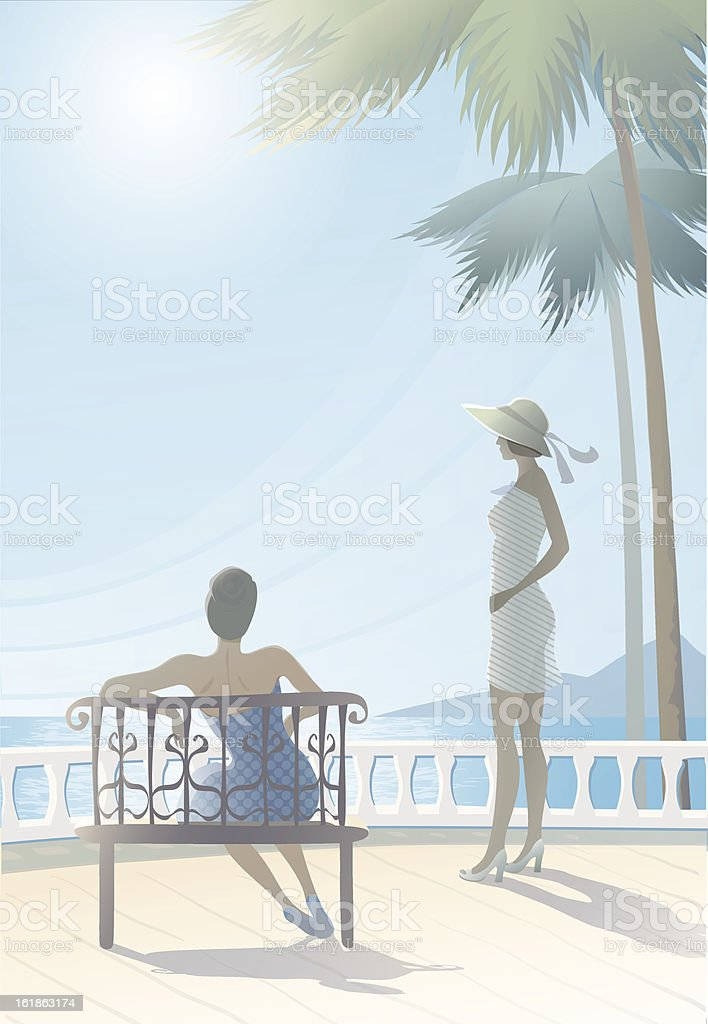lovely tranquil seascape with two figures vacationers girls. royalty-free stock vector art