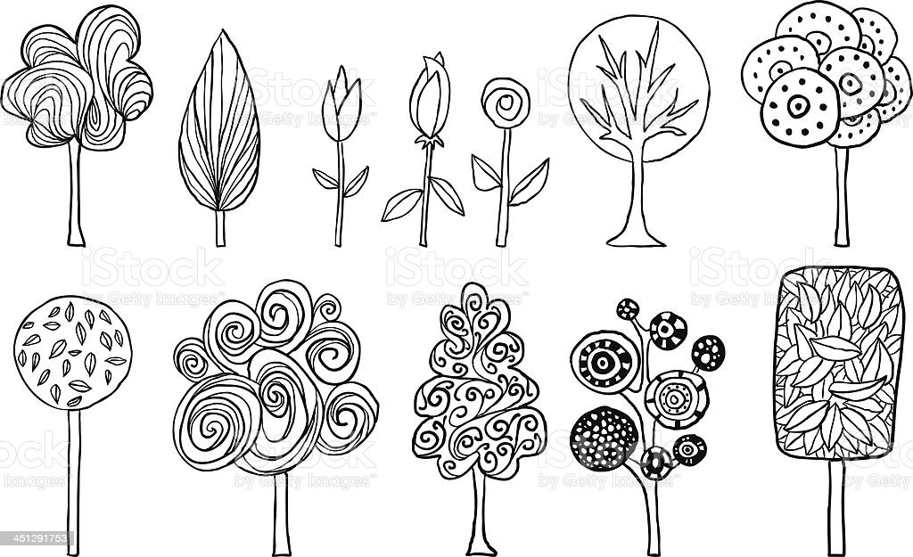 Lovely trees in cartoon style vector art illustration