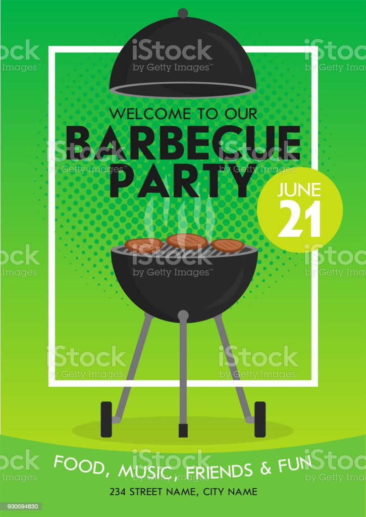 Lovely vector barbecue party invitation design template set. Trendy BBQ cookout poster design vector art illustration